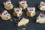 Mouse cheese on biscuits