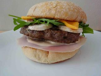 BBQ Hamburger with ham