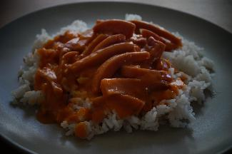 Korvstroganoff with rice