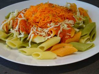 Pasta with ajvar relish and carrot sauce