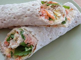 Swedish soft flatbread with smoked salmon