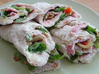 Swedish soft flatbread wraps with ham and olives