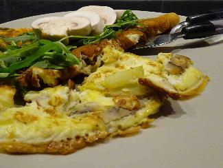 Omelet with potato and mushroom