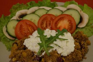 Vegetarian minced meat with Cottage cheese and vegetables