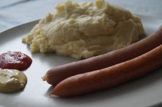 Hot dogs and mashed potatoes